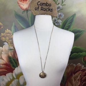 Monet Sand Dollar Gold Tone Pendant Chain Necklace